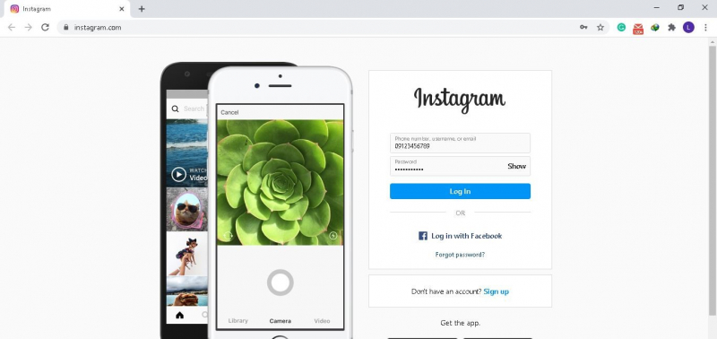 InstagramのWebサイトにアクセスして、WindowsでInstagramのキャッシュをクリアします