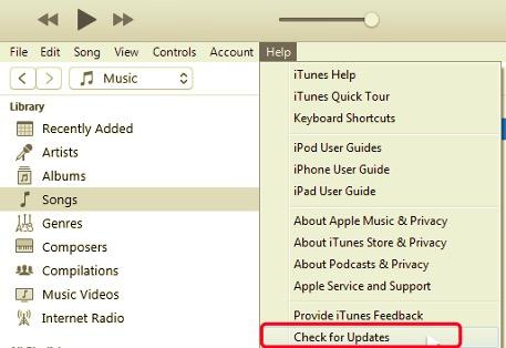 WindowsにインストールされていないiTunesドライバを修復するためのアップデートを確認する