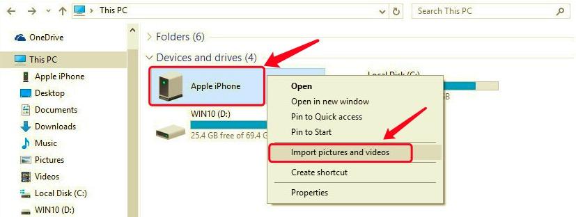 Windows 10のファイルエクスプローラーを使用して、iPhoneからPCにビデオを転送します