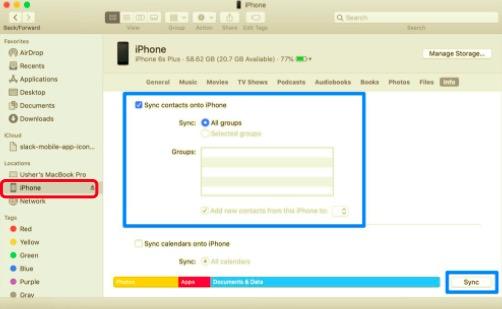 Finderを使用してiPhoneからiPadに連絡先を同期する