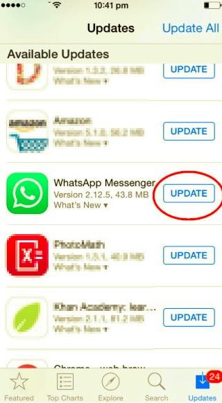 WhatsAppの更新を確認して、WhatsAppが機能しない問題を修正します