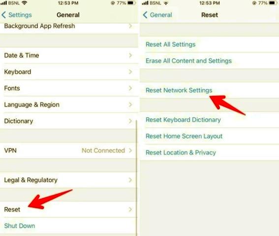 iPhoneのネットワーク設定をリセットしてWhatsAppの音声またはビデオ通話の音が出ない問題を修正する